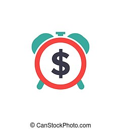 Time dollar icon - time for money - flat vector illustration isolated on white background.