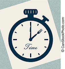 time drawing over leaf notebook background vector ...