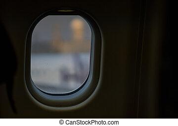 time., fenêtre, avion, nuit