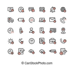 Time filled outline icon set. Vector and Illustration.