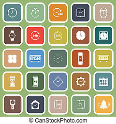 Time flat icons on green background