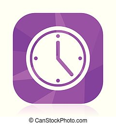 Time flat vector icon. Watch violet web button. Clock ...