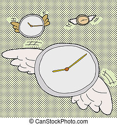 Time Flies Clocks - Clocks with wings in time flies cartoon