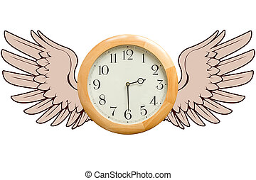 Time Flies concept - A round wooden clock with graphic wings...