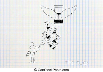 time flies concept man with lasso trying to catch hourglasses and one with wings going away