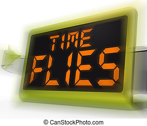 Time Flies Digital Clock Means Busy And Goes By Quickly