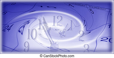 Time Flies - Artistic Digital Rendering of Clock and...