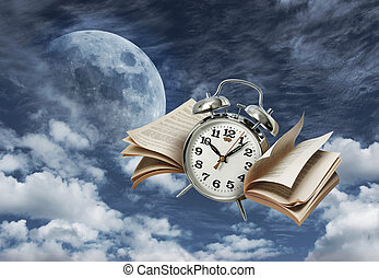 Time flies history concept - Alarm clock flying on moonlit...