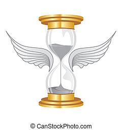 time flies - hourglass golden flies with wings
