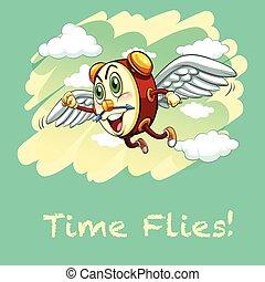Idiom illustration saying time flies