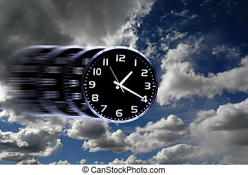 Time Flies or Speedy Time - Detail of blurred speedy clock...