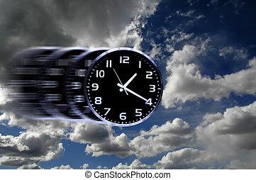 Time Flies or Speedy Time - Detail of blurred speedy clock ...