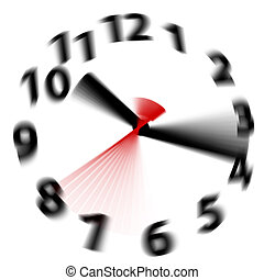 Time flies by fast as hands blur spinning around a white clock face