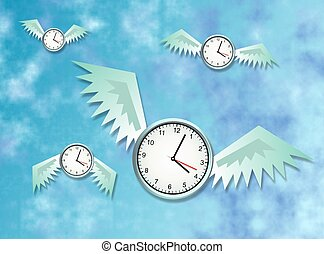 Time flies. Concept illustration.