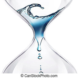 time flows - hourglass with dripping water close-up
