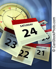 Time flying - A clock and some calendar sheet symbolizing...