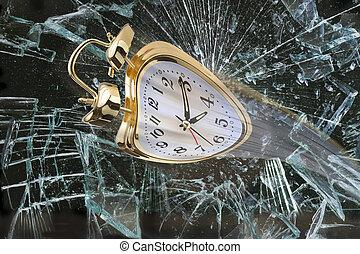 Time Flying. - Alarm clock flying through broken window.
