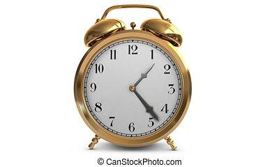 Time Flys - Vintage brass alarm clock showing the hands of...