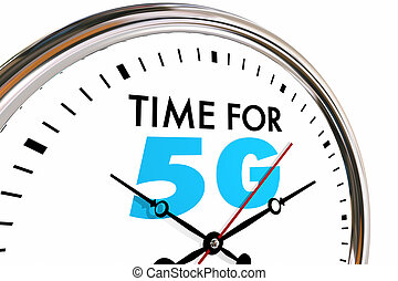 Time for 5G Wireless Network Technology Clock 3d Illustration