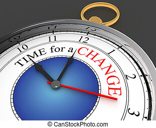 Time for a change red word on concept clock