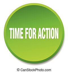 time for action green round flat isolated push button