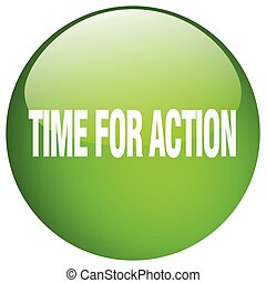 time for action green round gel isolated push button