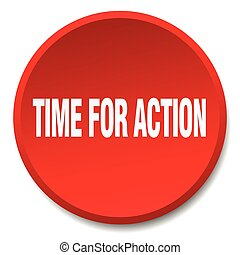 time for action red round flat isolated push button