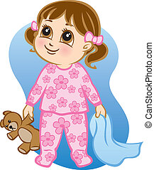 Illustration of a toddler wearing pajamas and holding a teddy bear and blanket