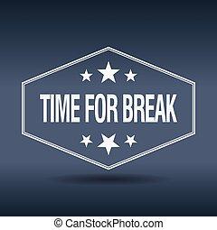 time for break hexagonal white vintage retro style label
