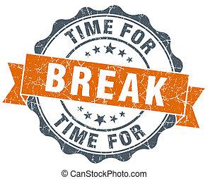 time for break vintage orange seal isolated on white