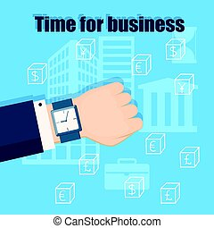 time for business with classic wristwatch