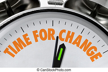 Time for Change business proverb or message on a traditional silver chrome clock face