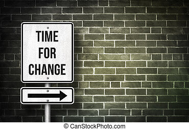 Time for change road sign concept