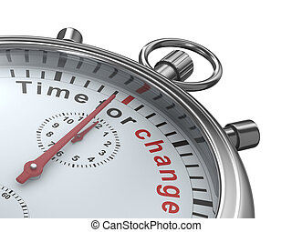 Time for change. Stopwatch on white background. Isolated 3D...