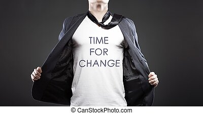 Time for change, young successful businessman