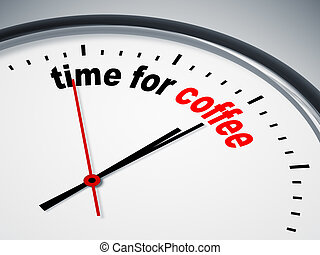 time for coffee - An image of a nice clock with time for...