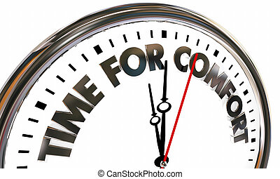 Time for Comfort Relax Clock Words 3d Illustration