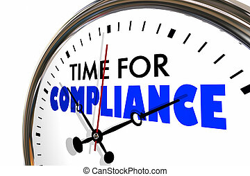 Time for Compliance Follow Rules Deadline Clock Hands Ticking 3d Animation