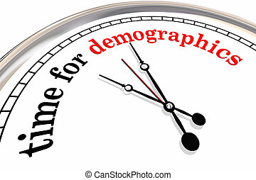 Time for Demographics Clock Words Research Audience 3d Illustration