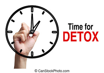 Time For Detox Concept - Hand is drawing a clock with text...