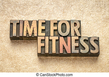time for fitness words in wood type