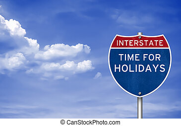 Time for holidays road sign concept
