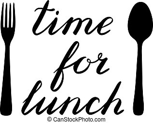 Time for lunch hand made brush lettering with a fork and...