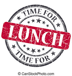Time for lunch red grunge textured vintage isolated stamp