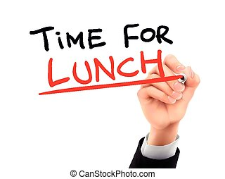 time for lunch written by 3d hand - time for lunch words...