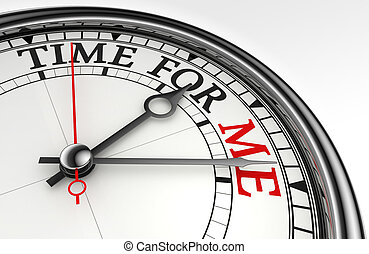 time for me concept clock closeup on white background with...