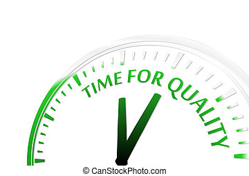 Time for quality clock abstract green vector illustration