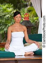 Time for relax - 20-25 years woman portrait during yoga at...
