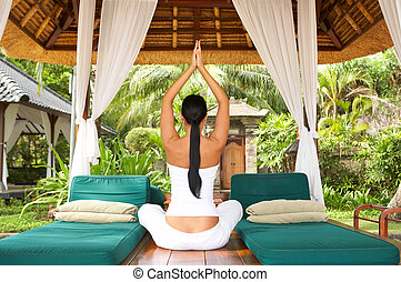 Time for relax. - 20-25 years woman portrait during yoga at...