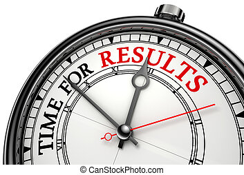 time for results concept clock on white background with red and black words. clipping path included